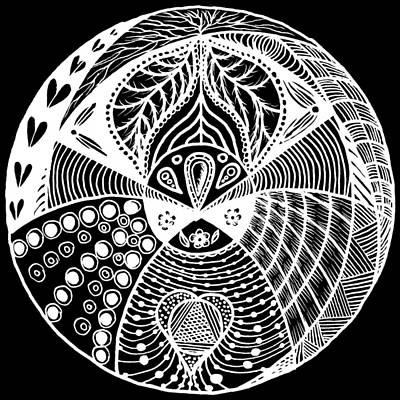 Repetition Drawing - Mandala Ldv 2015-02-02 White by Leana De Villiers