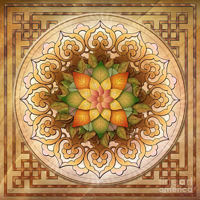 Mandala Digital Art - Mandala Leaf Rosette V1 by Bedros Awak