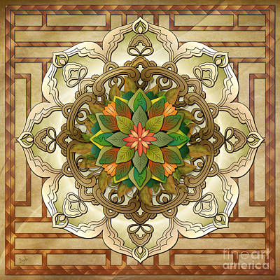 Center Mixed Media - Mandala Leaf Rosette V2 by Bedros Awak
