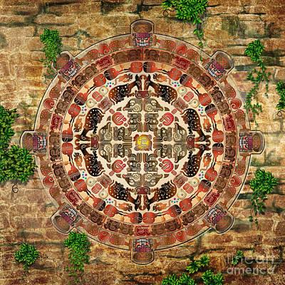Mayan Mixed Media - Mandala Maya by Bedros Awak