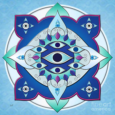 Seven Mixed Media - Mandala Of The Seven Eyes by Bedros Awak