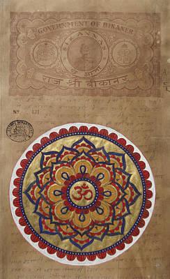 India Babas Painting - Mandala Om Aum India Meditation Yaga Yogi Stamp  by A K Mundra