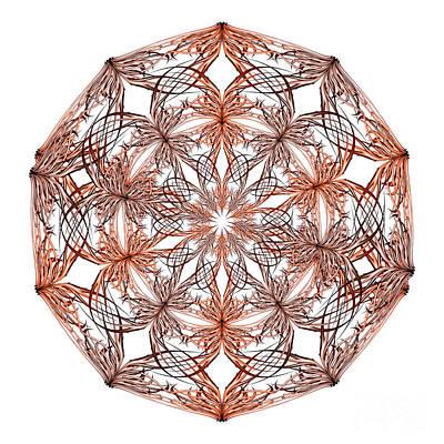 Mandala Orange And Beige Art Print by Vanessa GF