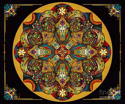 Zodiac Digital Art - Mandala Sacred Rams - Dark Version Sp by Bedros Awak