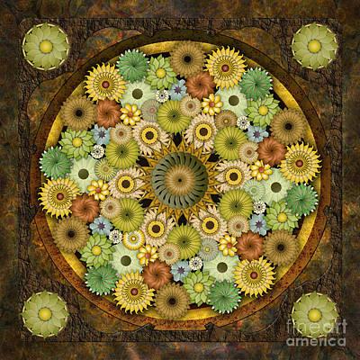 Awak Mixed Media - Mandala Stone Flowers by Bedros Awak