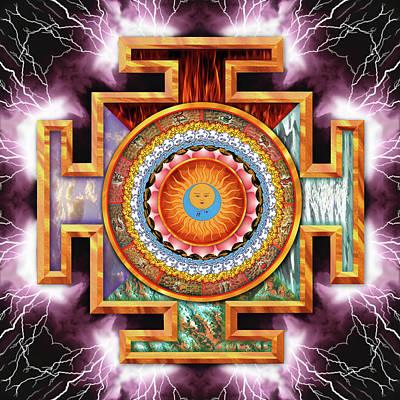 Lightning Digital Art - Mandala Tantra by Mark Myers