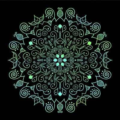 Digital Art - Mandala Teal And Black by Patricia Lintner