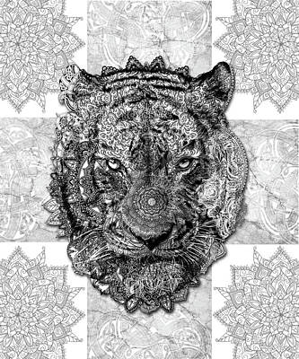 Digital Art - Mandala Tiger 2 by Bekim Art