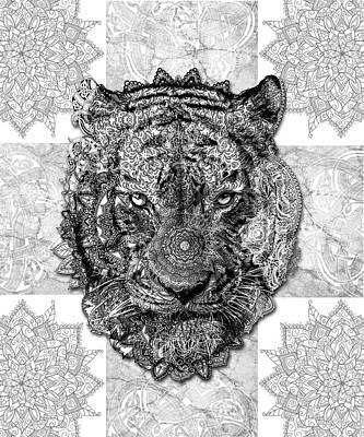 Digital Art - Mandala Tiger 2 by Bekim Art