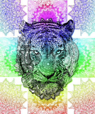 Digital Art - Mandala Tiger 3 by Bekim Art