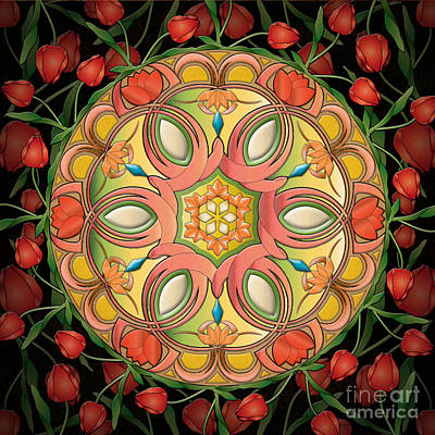 Mandala Tulipa Art Print by Bedros Awak