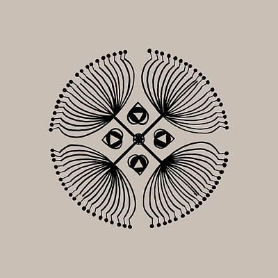 Circles Drawing - Mandala Black 15-04-04 Transparent by Leana De Villiers