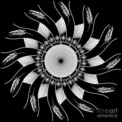 Art Print featuring the digital art Mandala White And Black by Linda Lees