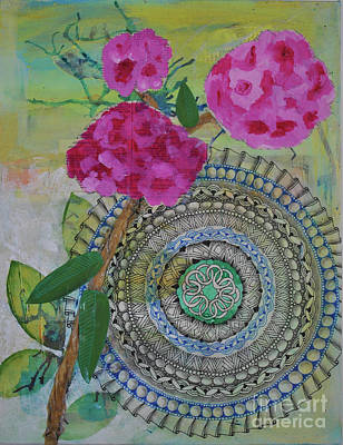 Wall Art - Mixed Media - Mandala With Rhododendron by Jeanette Clawson