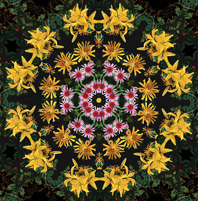 Photograph - Mandala Yellows Dancing by Nancy Griswold