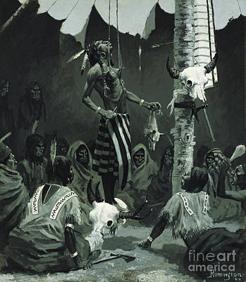 Cow Skull Painting - Mandan Initiation Ceremony The Sundance by Frederic Remington
