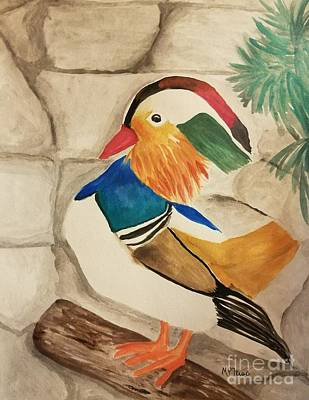 Painting - Mandarin Duck Watercolor by Maria Urso