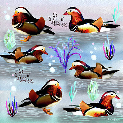 Painting - Mandarin Ducks - Oil Painting by Ericamaxine Price