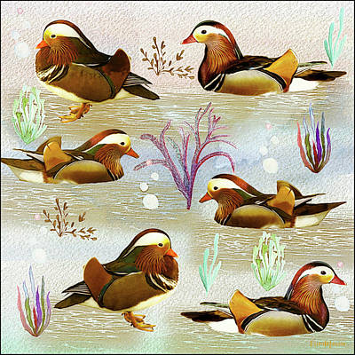 Digital Art - Mandarin Ducks - Watercolor by Ericamaxine Price