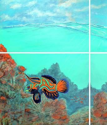 Reef Painting - Mandarin Goby Reef Art by Ken Figurski