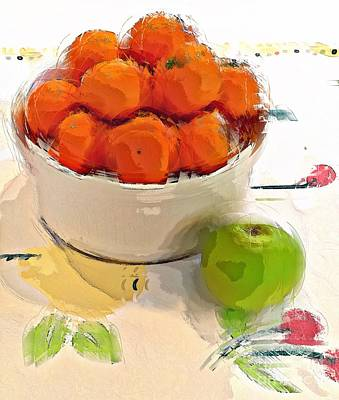 Art Print featuring the digital art Mandarin With Apple by Alexis Rotella