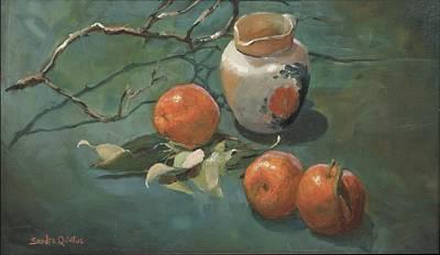 Mandarin Painting - Mandarins And Cream by Sandra Quintus