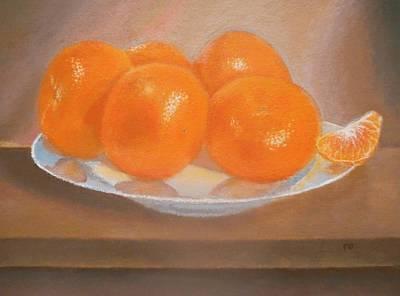 Mandarins On A Plate  Print by Mandy  Dargin