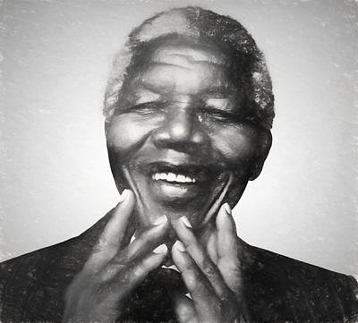 Politicians Drawings - Mandela Charcoal Sketch by Dan Sproul