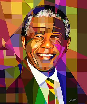 Statesmen Digital Art - Mandela by James  Mingo