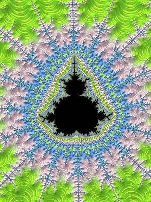 Digital Art - Mandelbrot Fractal Greenery Rose Quartz Serenity by Matthias Hauser