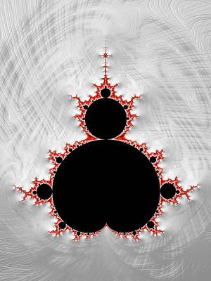 Digital Art - Mandelbrot Set Black Red Silver Fractal Art by Matthias Hauser