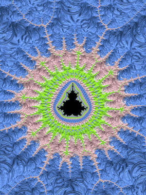 Serenity Digital Art - Mandelbrot Set With Green Pink And Blue Spring Colors by Matthias Hauser