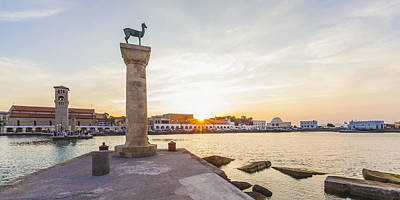 Mandraki Harbour At Sunset Print by Werner Dieterich