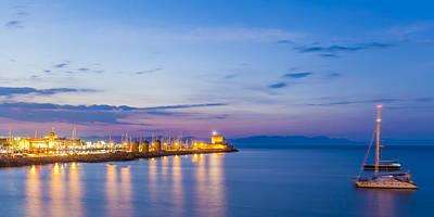 Mandraki Harbour At Twilight Print by Werner Dieterich