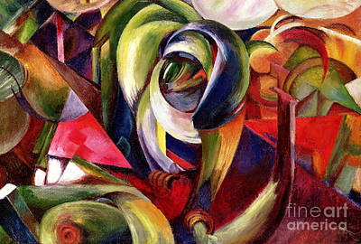 Geometric Artwork Painting - Mandrill by Franz Marc