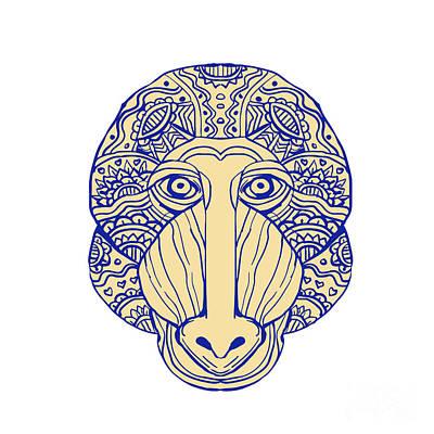 Mandrill Head Front Mandala Art Print