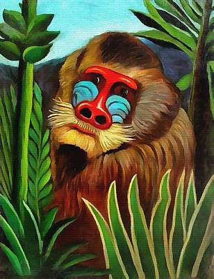 Mandrill In The Jungle Art Print