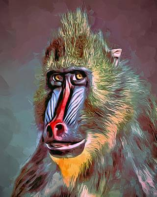 Mandrill Portrait Art Print