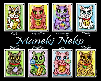 Art Print featuring the painting Maneki Neko Luck Cats by Carrie Hawks