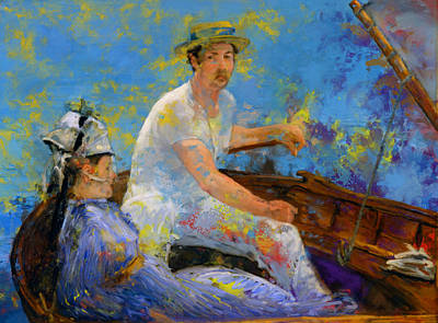 Sail Boat Painting - Manet Boating by Frank DaVinci