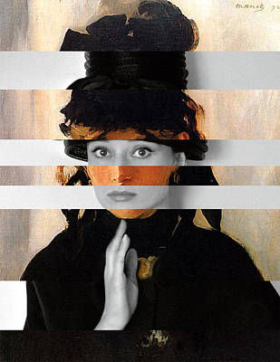 Audrey Hepburn Digital Art - Manet's Berthe Morisot With A Bouquet Of Violets And Audrey Hepburn by Luigi Tarini