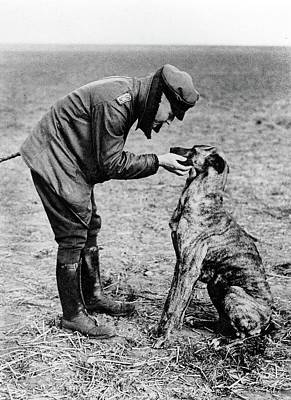 Photograph - Manfred Albrecht Freiherr Von Richthofen With His Pet Dog  Unknown Locale 1916 by David Lee Guss