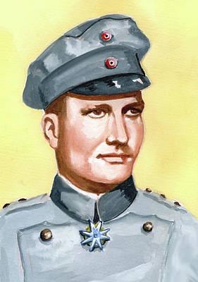 World War 1 Portraits Painting - Manfred Von Richtofen by Murray McLeod