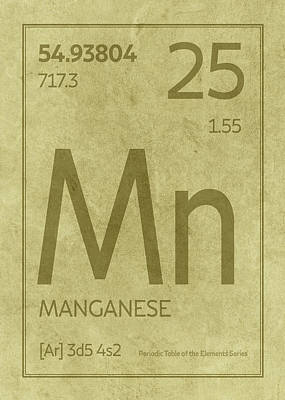 Periodic Table Wall Art - Mixed Media - Manganese Element Symbol Periodic Table Series 025 by Design Turnpike