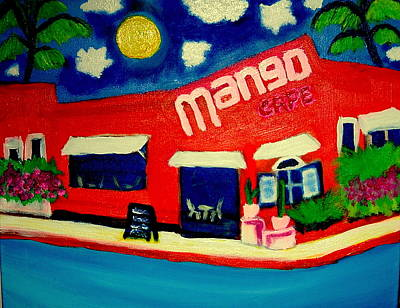 Painting - Mango Cafe Isla  Mueres Mexico by Ted Hebbler