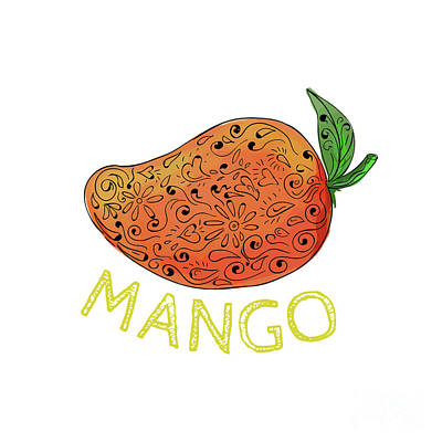 Mango Juicy Fruit Mandala  Art Print