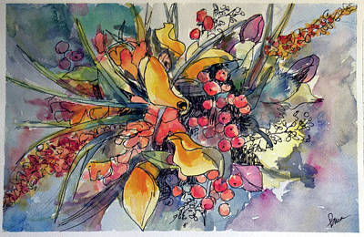 Wall Art - Painting - Mango Lily Bouquet by Elissa Poma