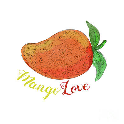 Mango Love Fruit Watercolor Mandala  Art Print