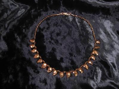 Smokey Quartz Jewelry - Mango Shape Pyrite Necklace by Jan Durand