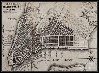 Drawing - Manhattan 1804 Map by Peter Gumaer Ogden Collection